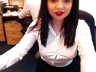 Zealous office chick pets say no to own untidy pussy on webcam for me