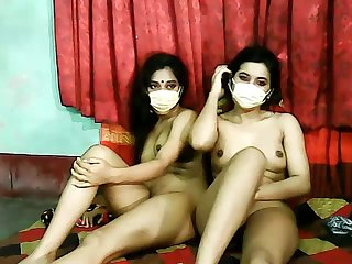 Lusty amateur cam Indian girls go lesbian to pet muddied pussies