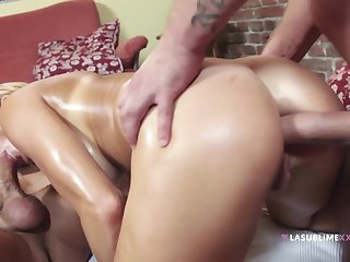 Bitch wants both cocks to penetrate her handy the same time