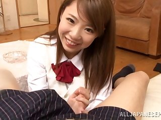 POV video of enticing Japanese make obsolete Chika Kitano giving head