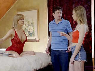 Blonde girls Anya Olsen and Cherie Deville have a threesome