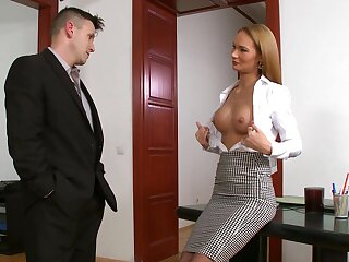 Hot tow-headed wordsmith Kerry Miller gets double penetrated wide the office