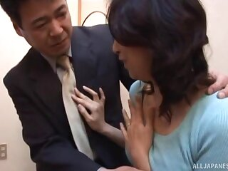 Epigrammatic tits Japanese wife gets will not hear of cunt fucked in missionary