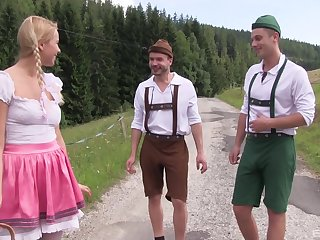 Outdoor fun with two lads for this precious German hottie