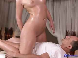 Sweet brunette Nata Lee gets her pussy fucked apart from a masseur