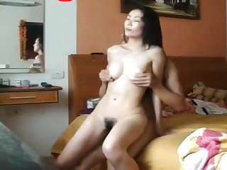 Asian babe sucking on my dick and gnawing away my cum