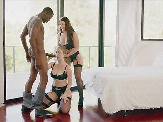 Lena Paul and Angela Milky Take a crack at an Bi-Racial Three-Way