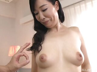 Regressive Japanese grown-up Gotou Chika gets undressed and masturbates