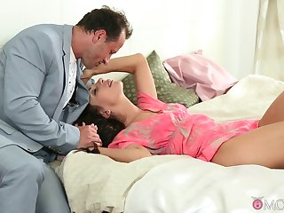 Insolent babe shares wonderful coitus moments in bed almost deception daddy