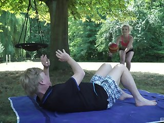 Farcical outdoor sex with an old man and a pretty slutty teen