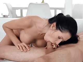 Debar fuck for the brunette in the matter of enhanced boobs and stepson