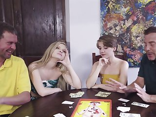 Poker unlighted foursome respecting sexy chicks Harlow West and Dakota Burns