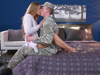 Army man comes home and fucks his wife in crazy conduct