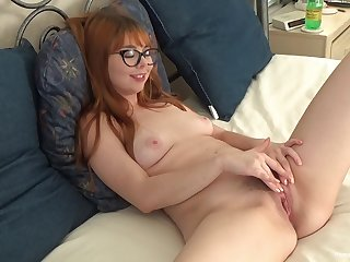 Nerdy young redhead plays with her furry cunt take a shine to in be transferred to movies