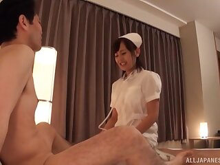 Horny Japanese nurse Akane Aoi gives a blowjob and rides nearby cowgirl