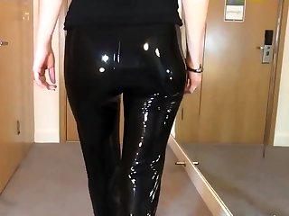 Sexy Latex Liquid Leggings with Red-hot Stilettos Fetish