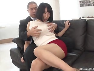 Japanese office beauty in non-standard hard sex scenes with her boss