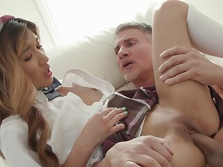 Film over of an older white pauper fucking tight pussy of Asian Clara Trinity
