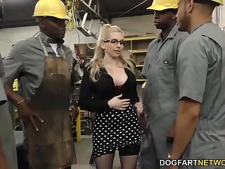 Several black guys fuck bossy shrew Christie Stevens in anus and pussy