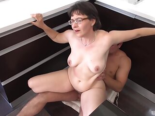 Granny Edith Pumps Her Hairy Pussy Up Coupled with Down His Man Meat