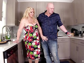 Dicking in the kitchen with naughty housewife Karen Fisher