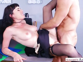Olive Glass fucking in the chair with her natural jugs
