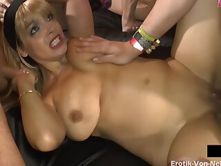 Creampie Fuck With Unlike Big Cocks At German Private Sexparty In Hammer away Bludgeon