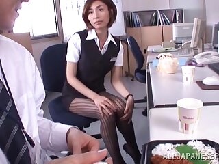 Skinny Asian secretary Akari Asahina pleasures her boss in he office