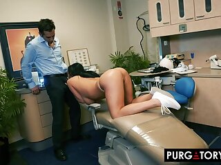 Smoking hot subfuscous everywhere big tits is having hardcore sex everywhere her interesting dentist, in his office
