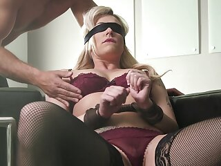 Dahlia Ambiance blindfolded, licked and pounded in a supererogation of positions