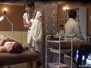 Amateur Japanese woman receives more than a simple massage