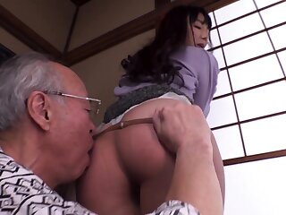 Young tow-headed gives blowjob and titjob to old guy