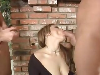 Charlie Lexington giving big cocks stunning blowjob in group porn