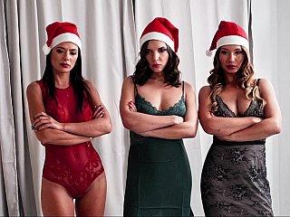 Santa's helpers help him cum