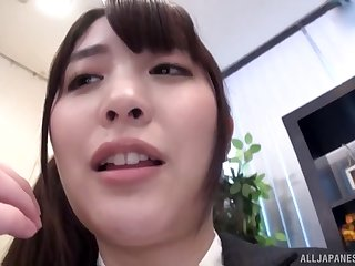 Long haired Japanese secretary missionary fucked at an office