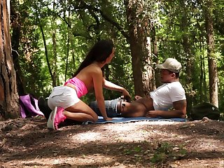 Forest sex and cumshot in mouth for Monica Brown from a black dude