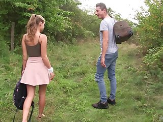 Sweet blonde teen babe Tiffany Tatum gets a hard pussy fuck outdoors