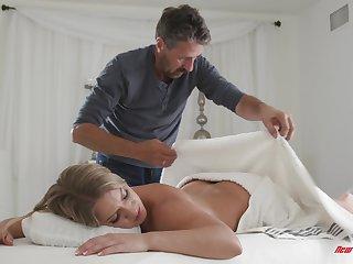 Blonde MILF Candice Dare pussy massaged and sucks a hard cock