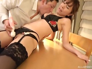 Shy Japanese brunette MILF in stockings gets her shaved pussy creamed