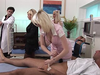Blonde nurse in stockings Amy Azurra pounded hard by her patient