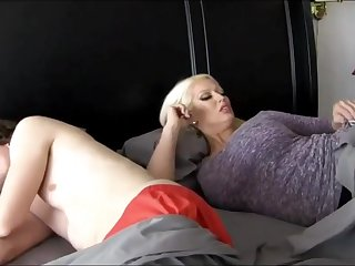 Super-Sexy ash-blonde chick with stupendous breasts is plumbing her step- son-in-law because she loves his hard-on