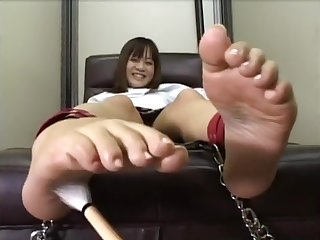 Japanese Girl bound foot tickling