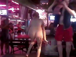 Drunk girl public bar strip