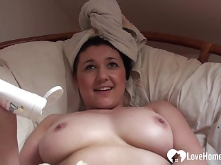 Aroused mommy masturbates while being recorded