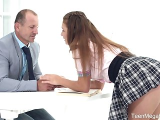 Lewd sexy Irish English colleen gal in uniform Mia kisses tutor and gets poked out of reach of the bureau