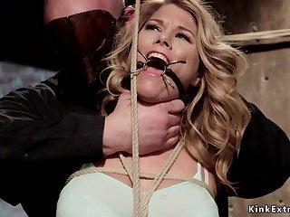 Gagged blondie gets big joke bags tied