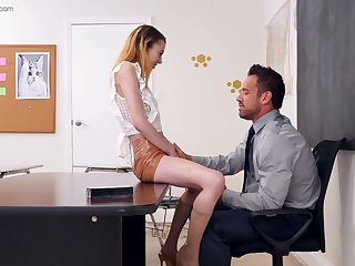 Cookie coed gal Allie Addison lures tutor and rides his dick on the table
