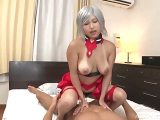 Gaffer Japanese doll handles the cock take a shine to a real porn deity
