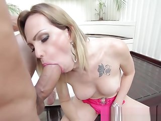 Latina shemale in high heels bends over be advisable for cock penetration
