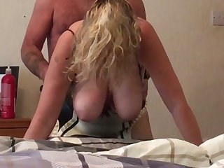 Curly giant breasted white whore gets inclination over and fucked doggy